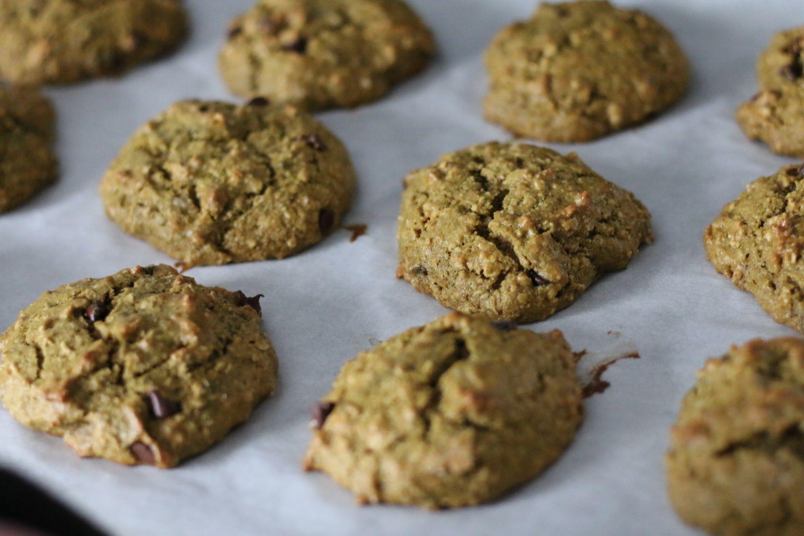 Cookies vegan choco-avoine (matcha) !