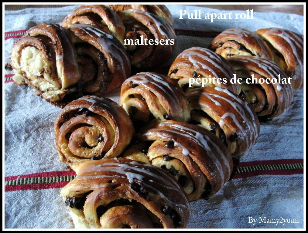 Pull apart bread: Maltesers roll #défiboulange - By Mamy2yumi.