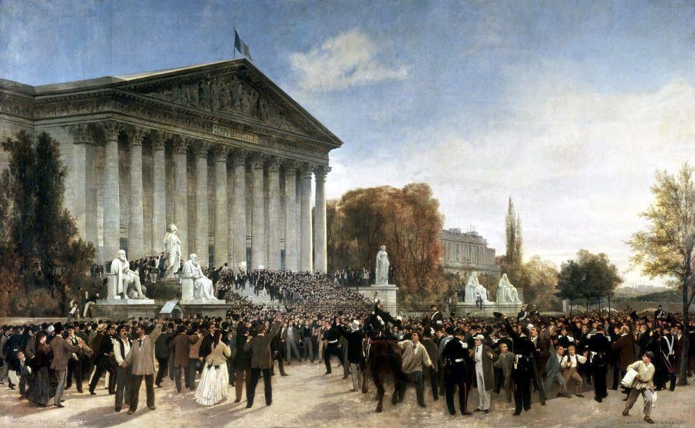 Plus de détails La foule devant le Corps législatif au matin du 4 septembre, Jacques Guiaud, 1870, musée Carnavalet, Paris