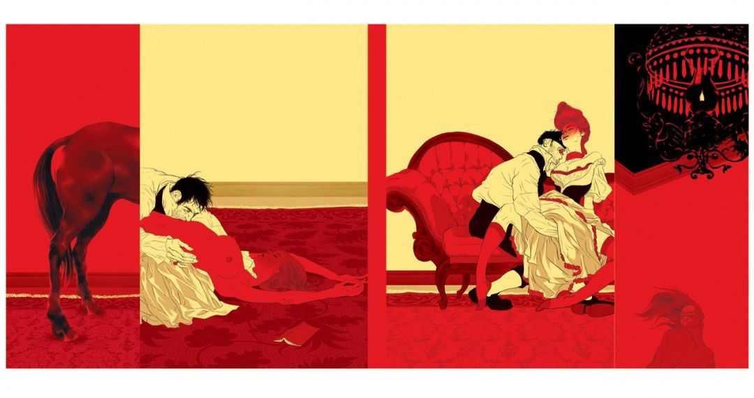Tomer Hanuka's cover for Marquis De Sade's 'Philosophy in the Boudoir: Immoral Mentors' from Penguin Classics