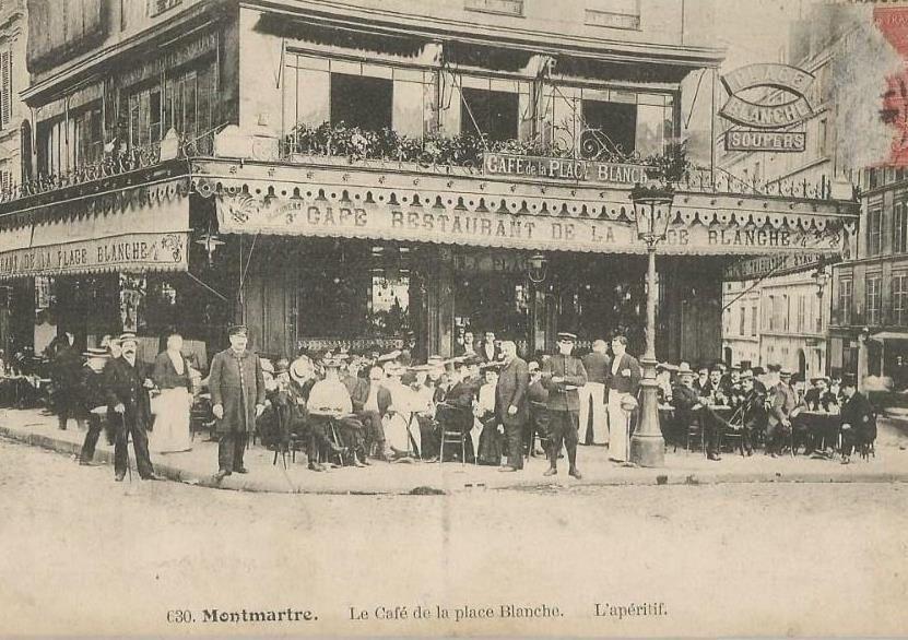 Le métro hier et aujourd'hui (photos 1 à 4).             L'immeuble à pan coupé du 1 (photo 5) .  Le café de la place Blanche en 1910 (photo 6)