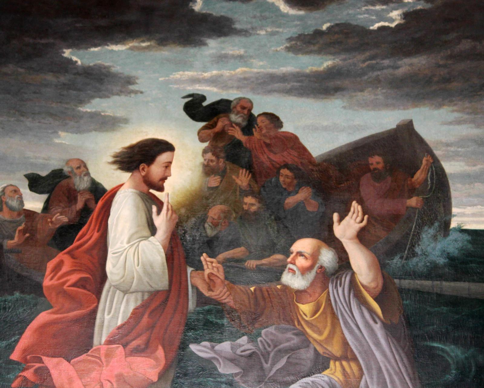 Eglise de Saint-Trojan. La tempête apaisée. Jésus marche sur les flots. Gaboriau..