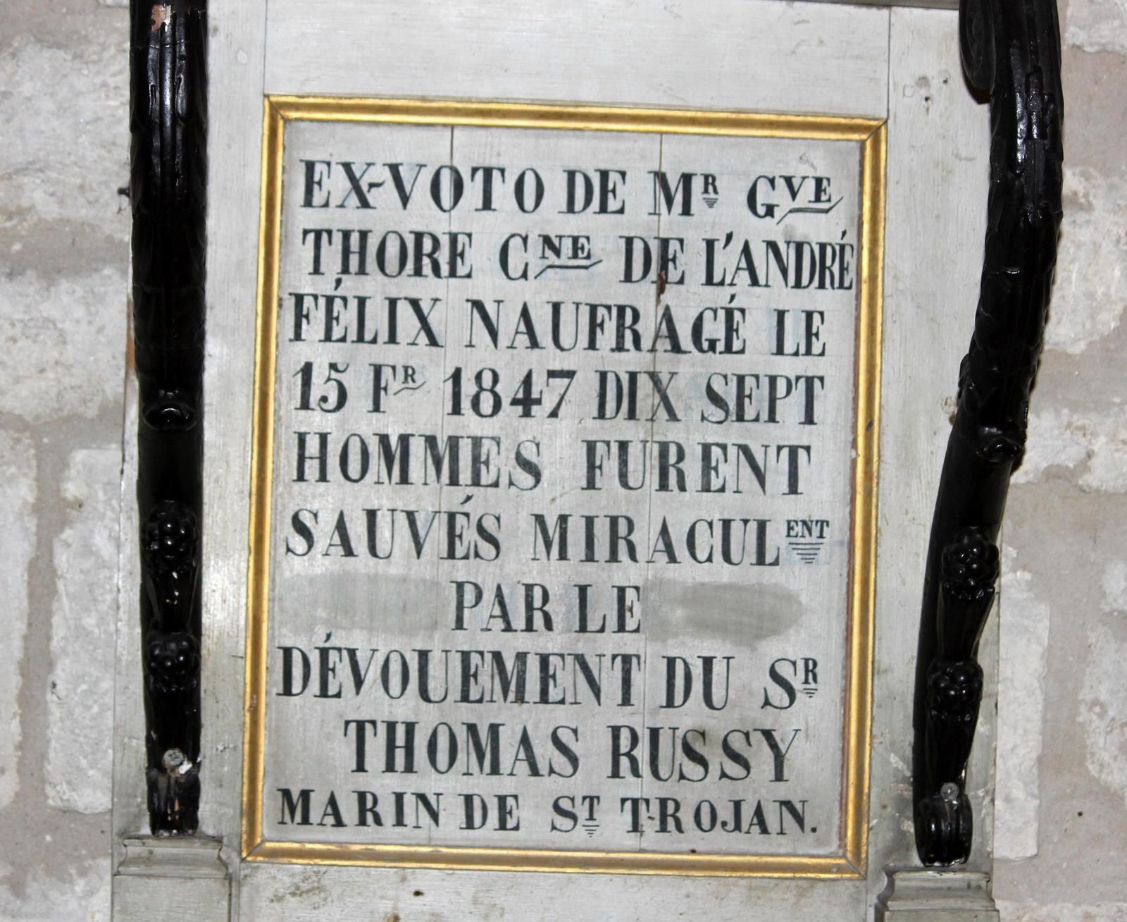 Inscription de l'ex-voto de l'André-Félix
