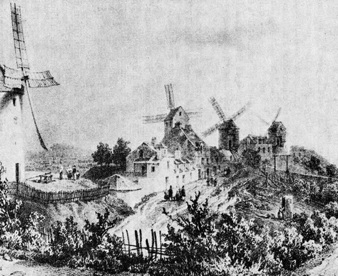 Les moulins. De gauche à droite : La Petite Tour, le Blute Fin (la Galette), le moulin Vieux, le moulin Neuf.
