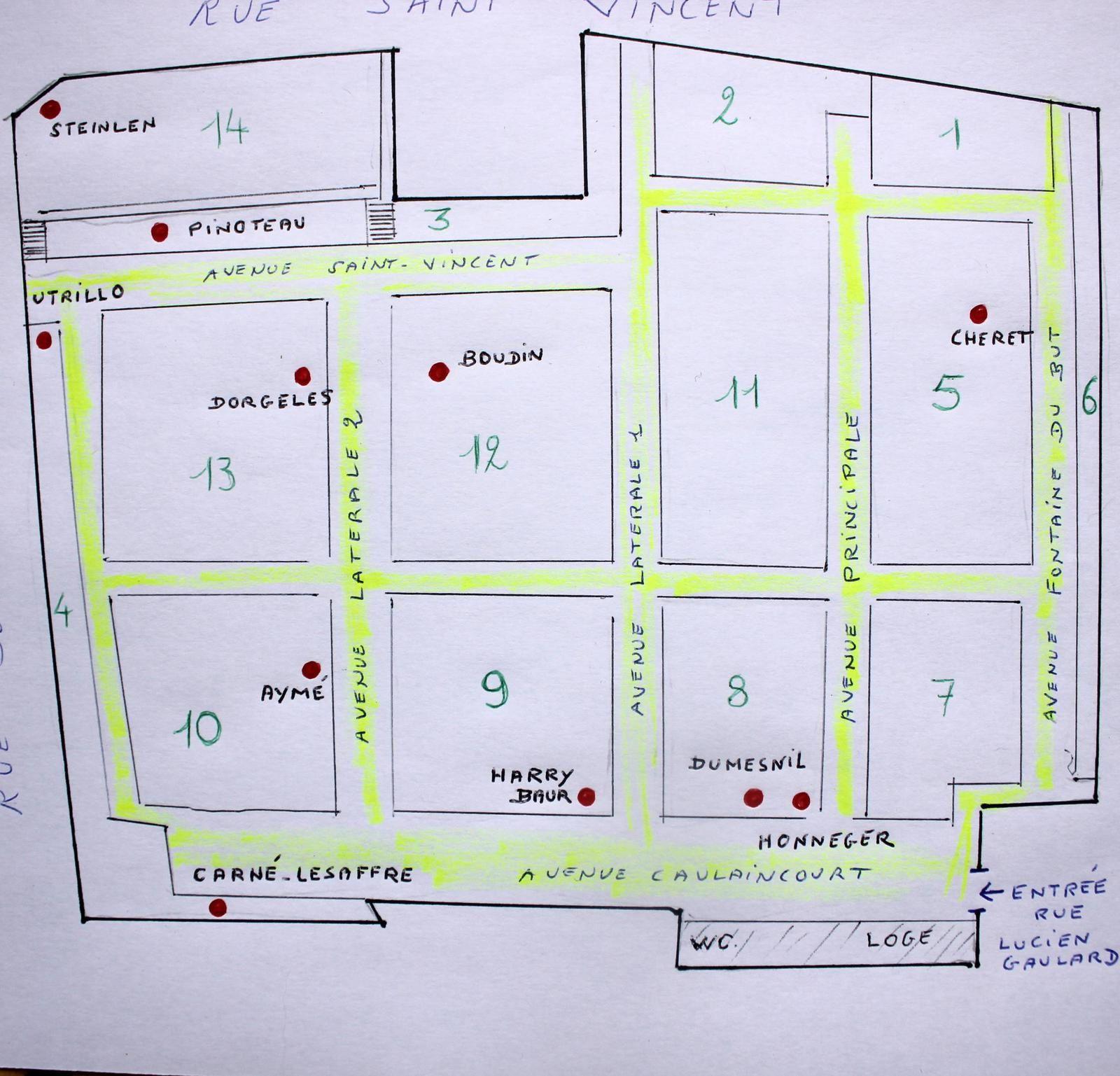 Plan des tombes citées dans l'article.