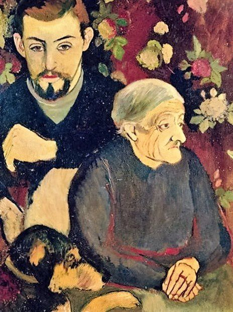 Utrillo, sa grand mère Madeleine et son chien ... (Suzanne Valadon 1910)