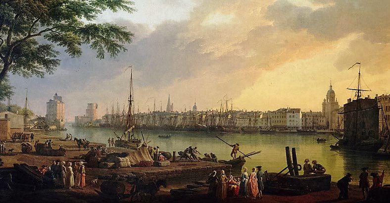 Port de La Rochelle en 1762. (D'après J. Vernet. Musée du Nouveau Monde).