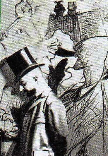Touloue Lautrec devant sa toile représentant Valentin et la Goulue.
