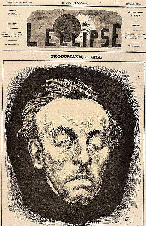 La tête de Troppmann dessinée par Gill....
