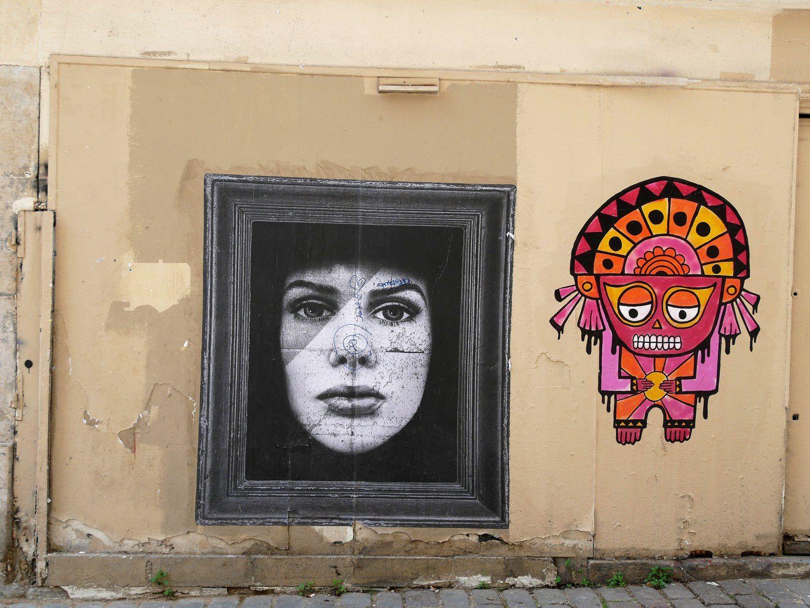 Street art. Montmartre. Mai 2017. Combo, Codex, Gregos, Softtwix, Jae Ray Mie, Zelda, Kam et Laurene, Nebo etc....