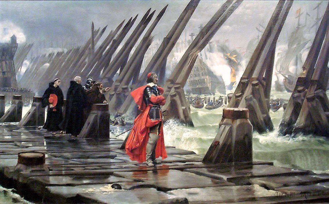 Le siège de La Rochelle. Richelieu. Henri Motte 1881.