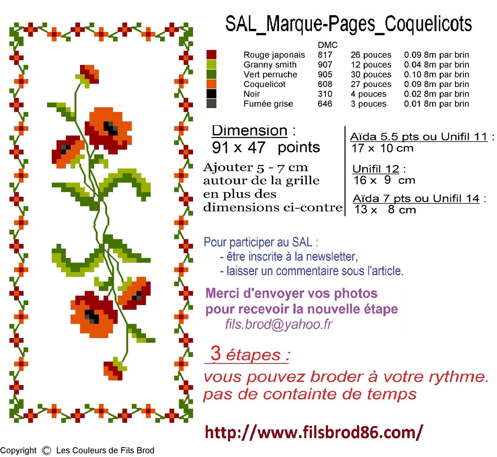 Sal marque-pages coquelicots