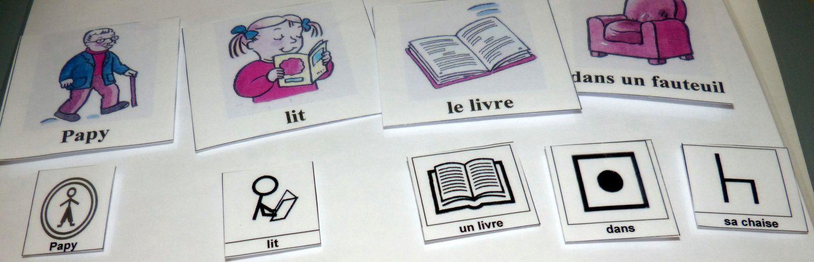 Trois exemples de phrases illustrées avec les pictogrammes