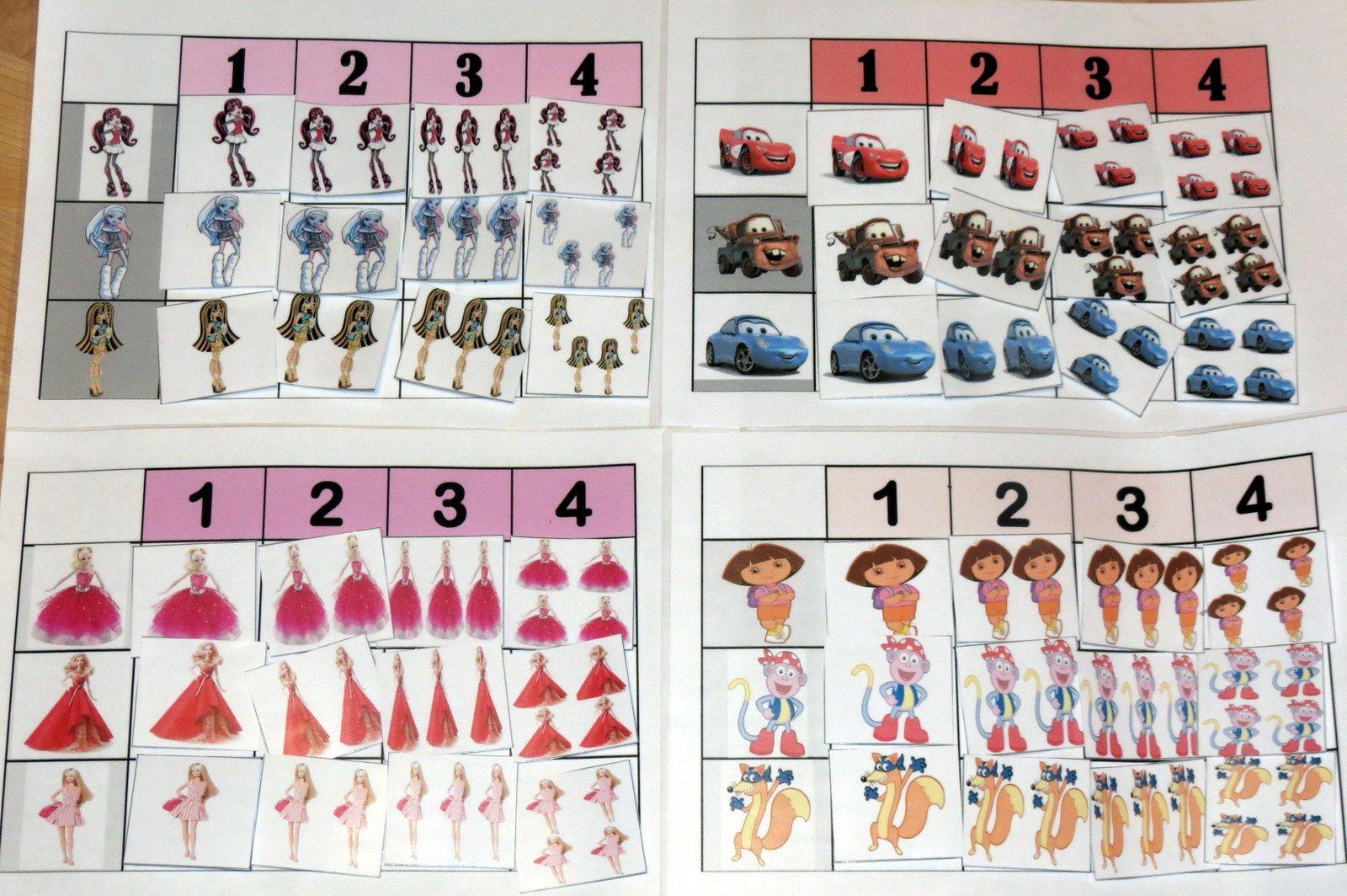 Tableaux de dénombrement de 1 à 4