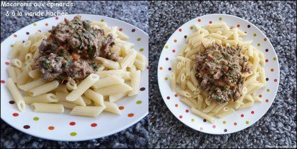 Macaronis aux épinards et à la viande hachée