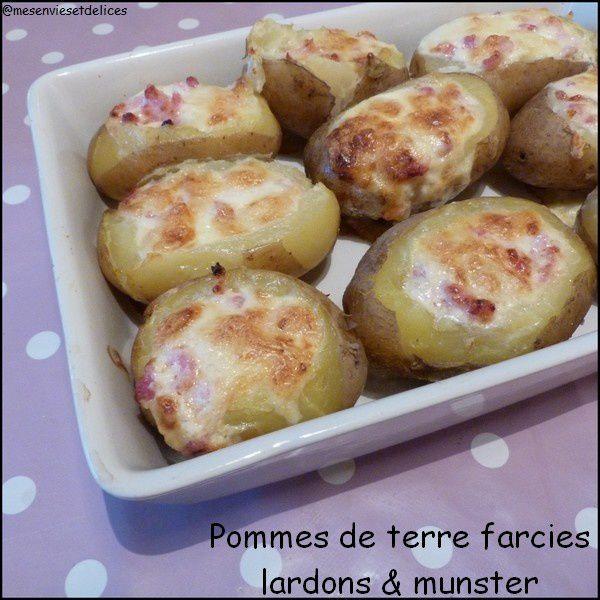 Pommes de terre farcies au Munster et aux lardons