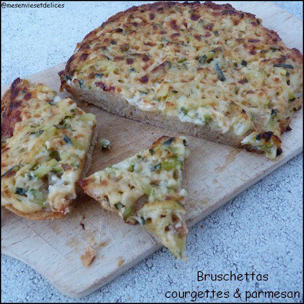 Bruschettas courgettes & parmesan