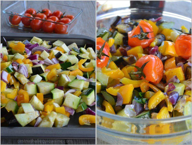 Fusillis aux légumes rôtis