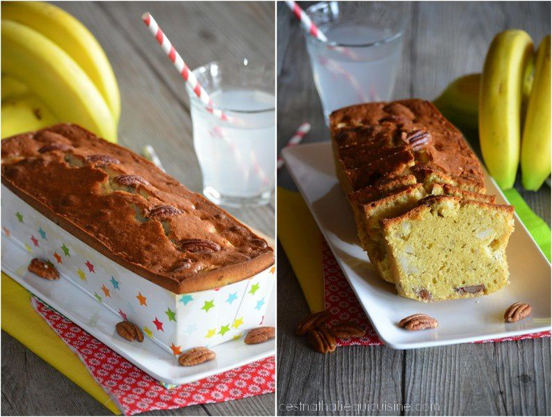 Cake banane et noix de Pécan pour le goûter...