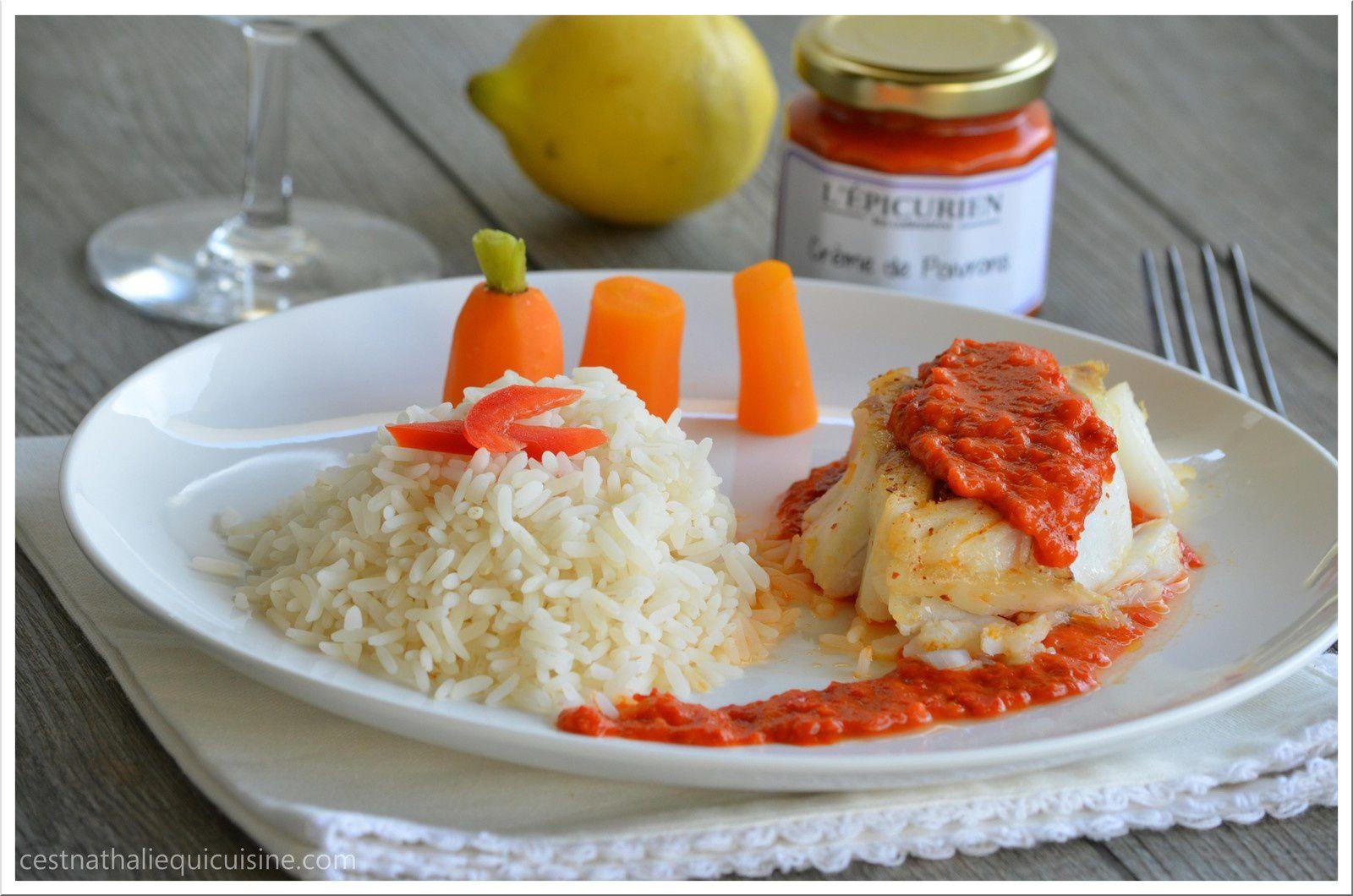 L'Epicurien : Dos de cabillaud au chorizo et crème de poivron