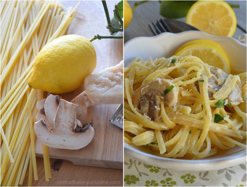 Pâtes au citron, champignons et parmesan