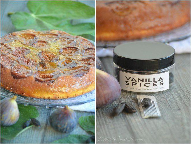 Gâteau aux figues, crème d'amande et fève tonka