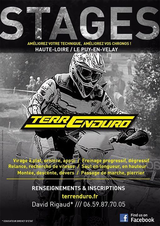 COUR ENDURO KID 65(selon niveau)/85/125 cm2 1ére PARTIE SAISON 2015 22 Février 2015 : 14h - 17h-17h30 - Parking MX Eycenac 01 Mars 2015 : 14h-17h-17H30- Parking MX Eycenac 15 Mars 2015 : Journée 10h – 13h / 14h-17h/17h30 A déterminer 12 Avril 2015 : 14h-17h/17h30 Parking MX Eycenac 03 Mai 2015 : 14h-17h/17h30 Parking MX Eycenac 14 Juin 2015 : 14h-17h/17h30 Parking MX Eycenac 28 Juin 2015 : 14h-17h/17h30 Parking MX Eycenac Licence FFM obligatoire - 20€ par cour - 5 séances : 100 € Renseignements/Inscriptions : David RIGAUD terrenduro@ymail.com / 06.59.87.70.05