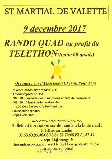 Rando quad Téléthon à St Martial de Valette (24), le 9 décembre 2017