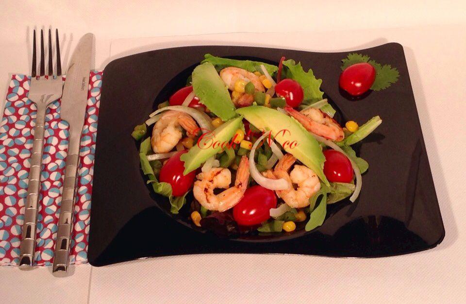 Salade aux crevettes #recette allégée (pour 4 personnes)