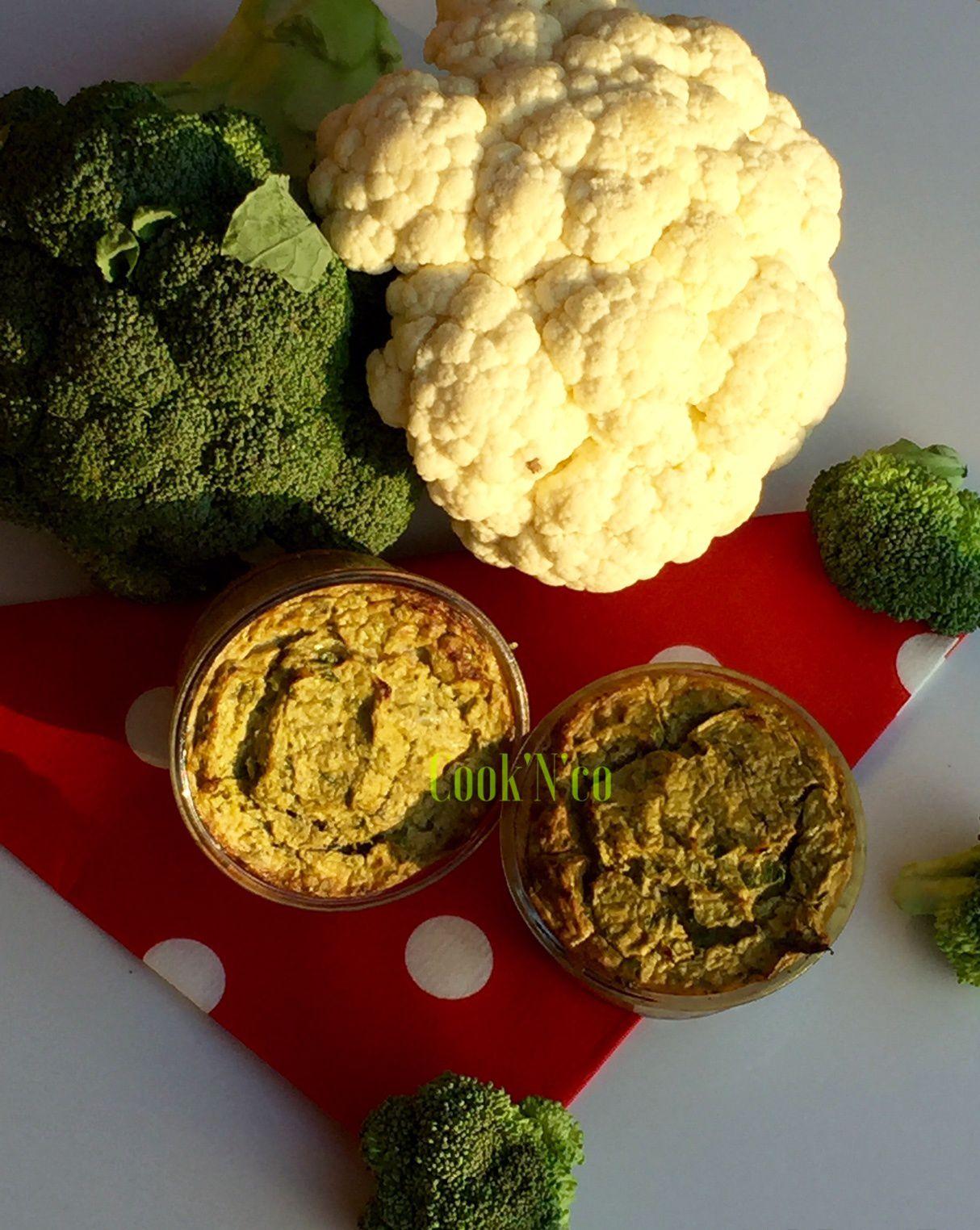 Petits flans brocoli/chou-fleur (pour 4 personnes)