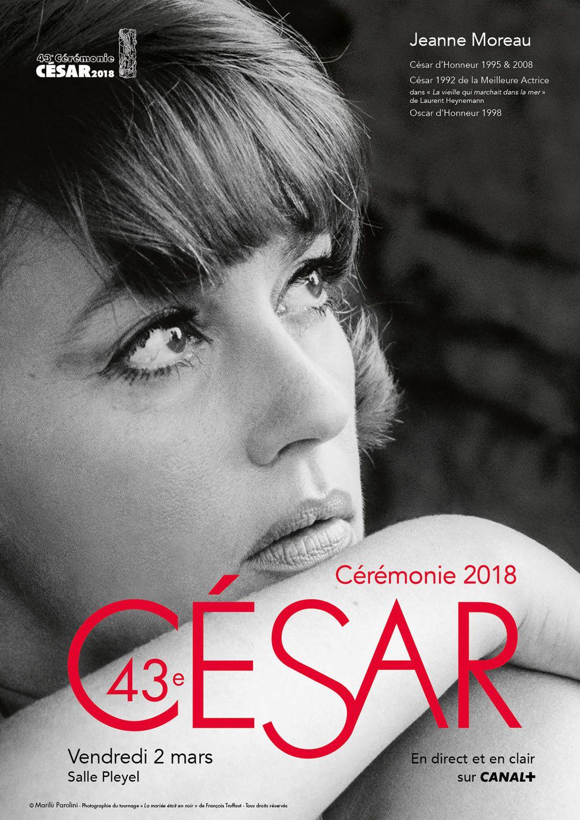 """""""Affiche de la 43e cérémonie des César"""" (© Marilù Parolini - Photographie du tournage """"La mariée était en noir"""" de François Truffaut)"""