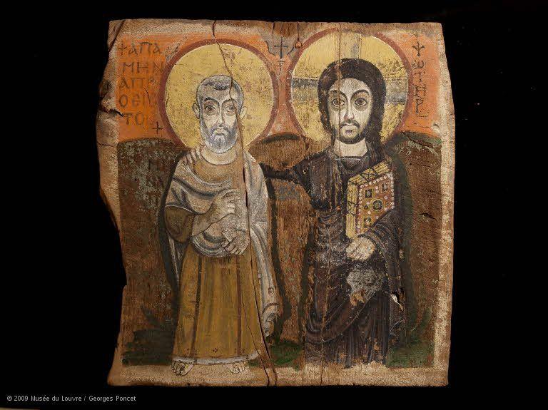 Le Christ et l'abbé Ména Département des Antiquités égyptiennes : Egypte chrétienne (IVe - XIIe siècle apr. J.-C.)