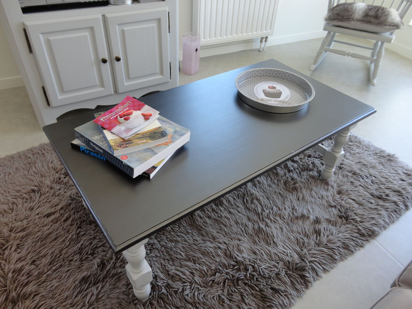 Table basse et meuble t l relook s peinture design touch for Table basse tele