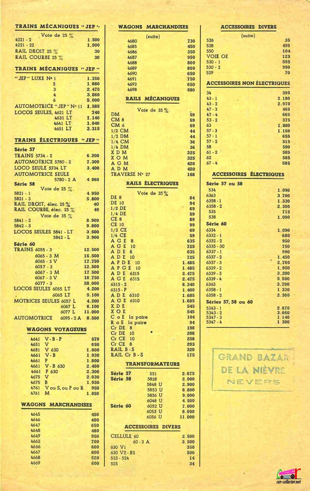 CATALOGUE TRAINS JEP 1953 - 1954