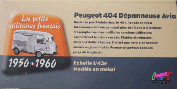 FASCICULE N°5 PEUGEOT 404 PICKUP 1964 DEPANNEUSE AVIA 1/43 ELIGOR