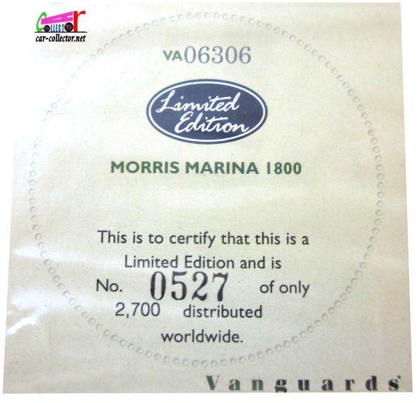 MORRIS MARINA 1800 SANDGLOW 1975 EDITION LIMITEE VANGUARDS 1/43