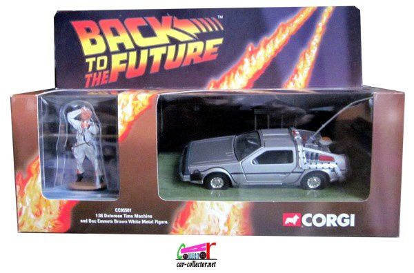 TIME MACHINE DELOREAN BACK TO THE FUTURE CORGI 1/36 DOC BROWN MICHAEL J.FOX & LLOYD