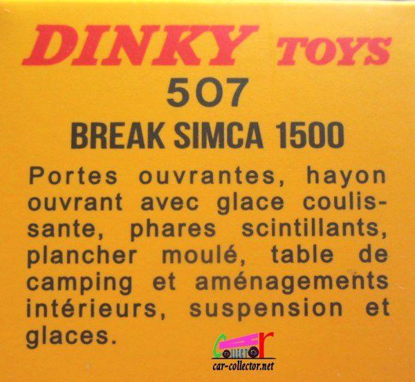 FASCICULE N°4 BREAK SIMCA 1500 AVEC TABLE DE CAMPING DINKY TOYS 1/43 - REEDITION ATLAS