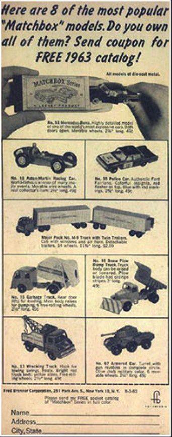 COUPON POUR 1 VOITURE MATCHBOX GRATUIT CATALOGUE 1963