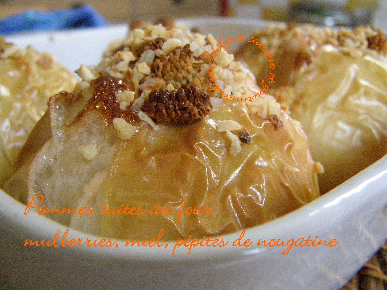 Pommes au four, miel, mulberry, pépites de nougatine Jaclyne cuisine et gourmandise