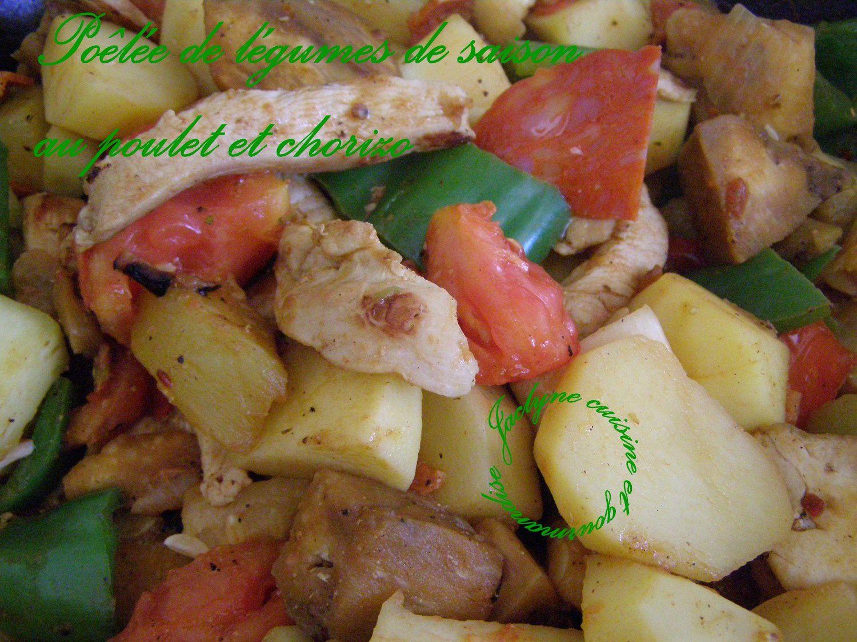 Poêlée de légumes de saison au poulet et chorizo Jaclyne www.cuisineetgourmandise.fr
