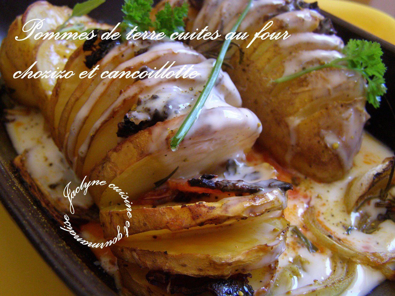 Pommes de terre cuites au four en cie de chorizo, oignons, cancoillotte. Simple et bon :) Jaclyne www.cuisineetgourmandise.fr