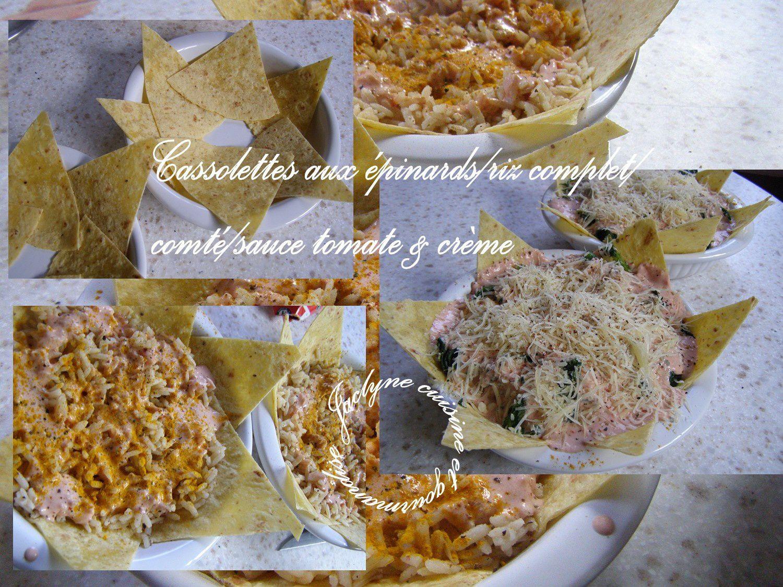 Cassolettes aux épinards/riz complet/comté/sauce tomate & crème Jaclyne www.cuisineetgourmandise.fr