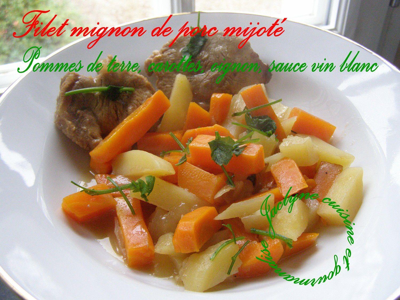 Filet mignon de porc mijoté aux pommes de terre, carottes, oignon, sauce vin blanc du Bugey Jaclyne www.cuisineetgourmandise.fr