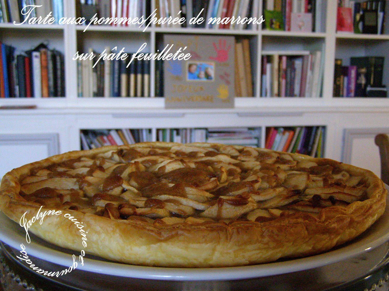Tarte aux pommes/crème de marrons sur pâte feuilletée