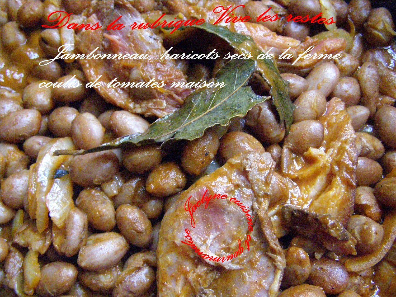 Jambonneau, haricots secs, coulis de tomates *Dans la rubrique Vive les restes* Jaclyne www.cuisineetgourmandise.fr