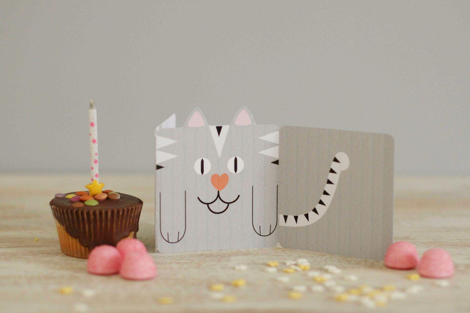 Carte petit chat pour anniversaire {Printable}