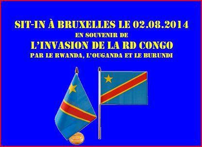 Sit-in à Bruxelles le 02.08.2014, en souvenir de l'invasion de la RD Congo par le Rwanda, l'Ouganda et le Burundi