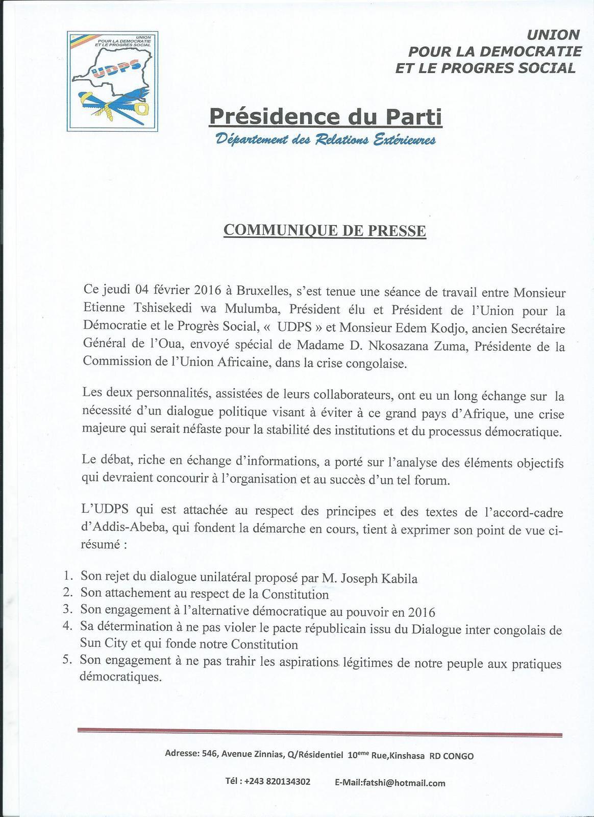 Crise politique congolaise, Edem Kodjo reçu par Étienne Tshisekedi
