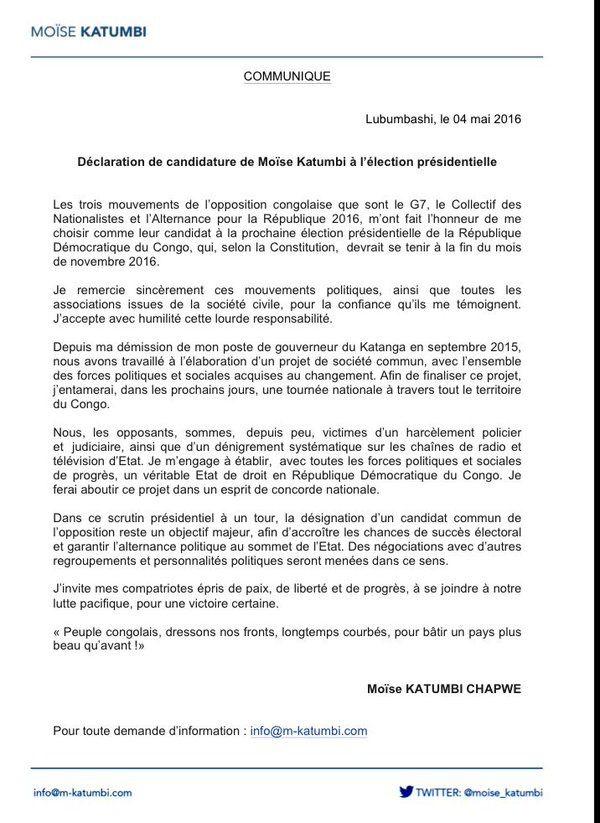 Moïse Katumbi candidat à la présidentielle de novembre 2016